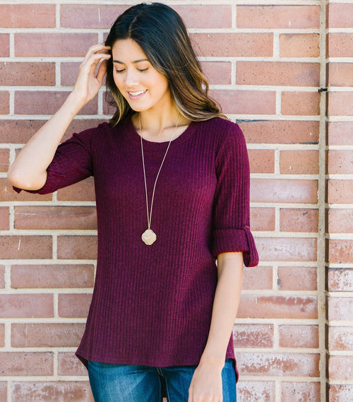 Ribbed Tab Sleeve Top
