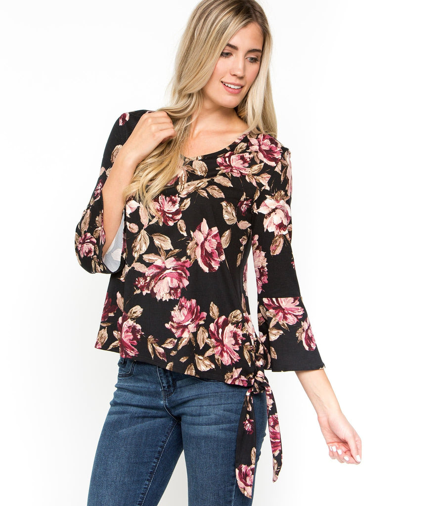 3/4 Ruffle Sleeve Swing Top with Tie