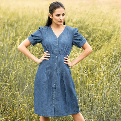 Chambray Button Front Dress