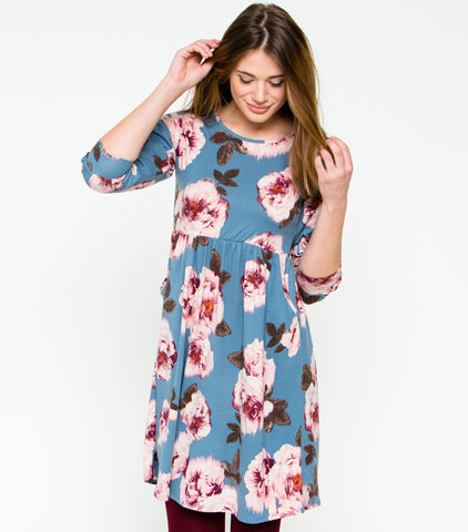 Heartfelt Blossom Dress - Denim Floral