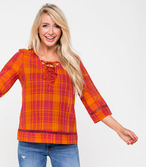 "3/4 Sleeve 24"" Lace Front Plaid Top"