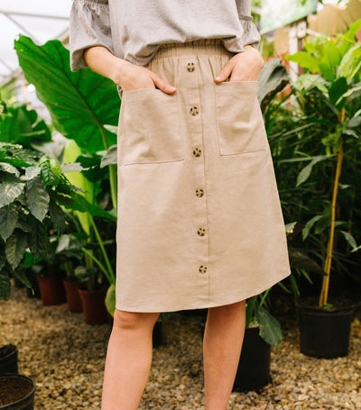 Button Front Paperbag Waist Skirt