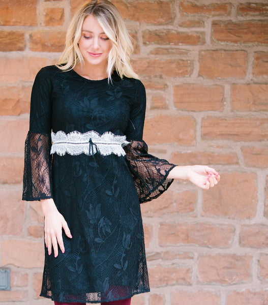Belt Detail Lace Dress