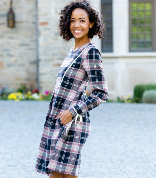 "Long Sleeve 38"" Flannel Plaid Dress with Embroidered Yoke"