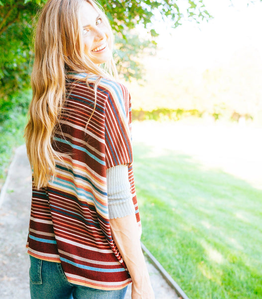 Oversized Multi Stripe Sweater