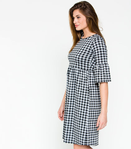 3/4 Ruffle Sleeve Gingham Babydoll Dress - Black & White