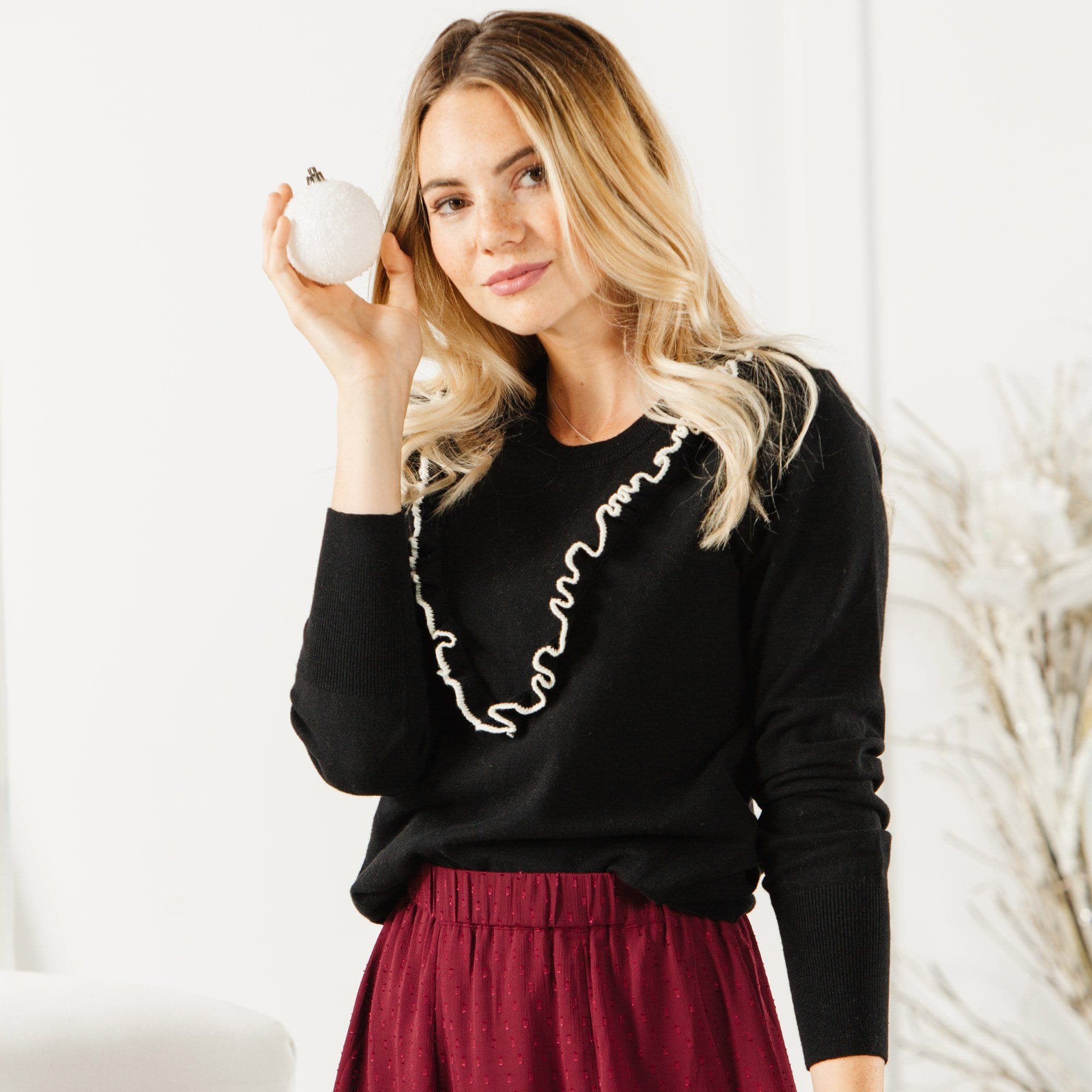 Ruffle Front Sweater
