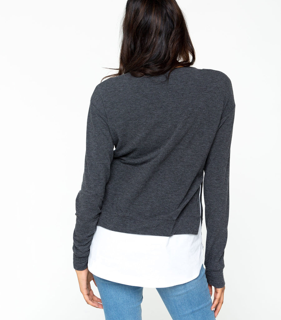 Long Sleeve French Terry with Polplin top