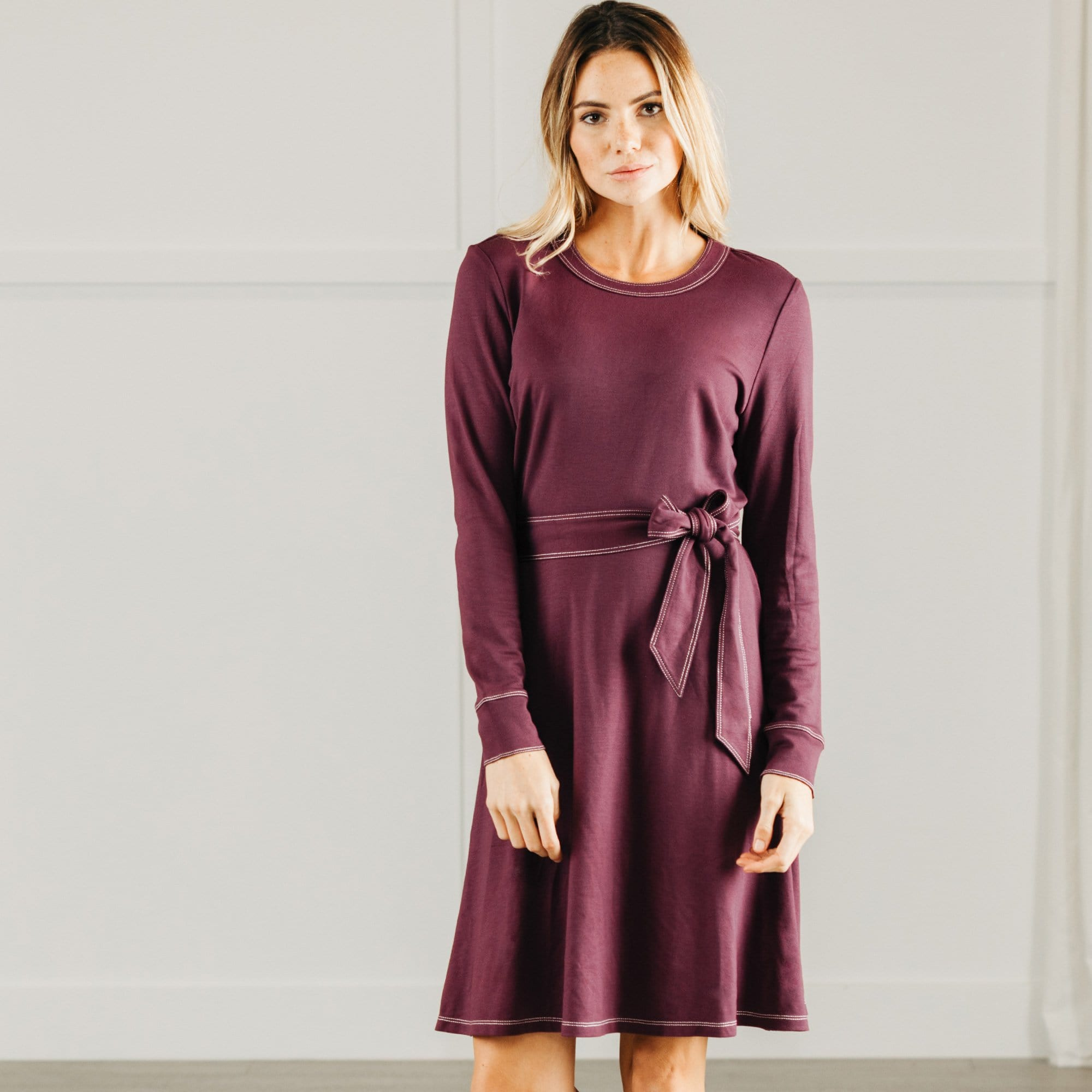 Contrast Stitch Belted Dress