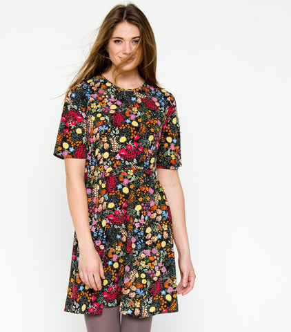Floral Explosion Dress - Black Multi