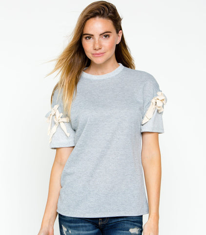 Short Tie Sleeve French Terry Top - Heather Gray