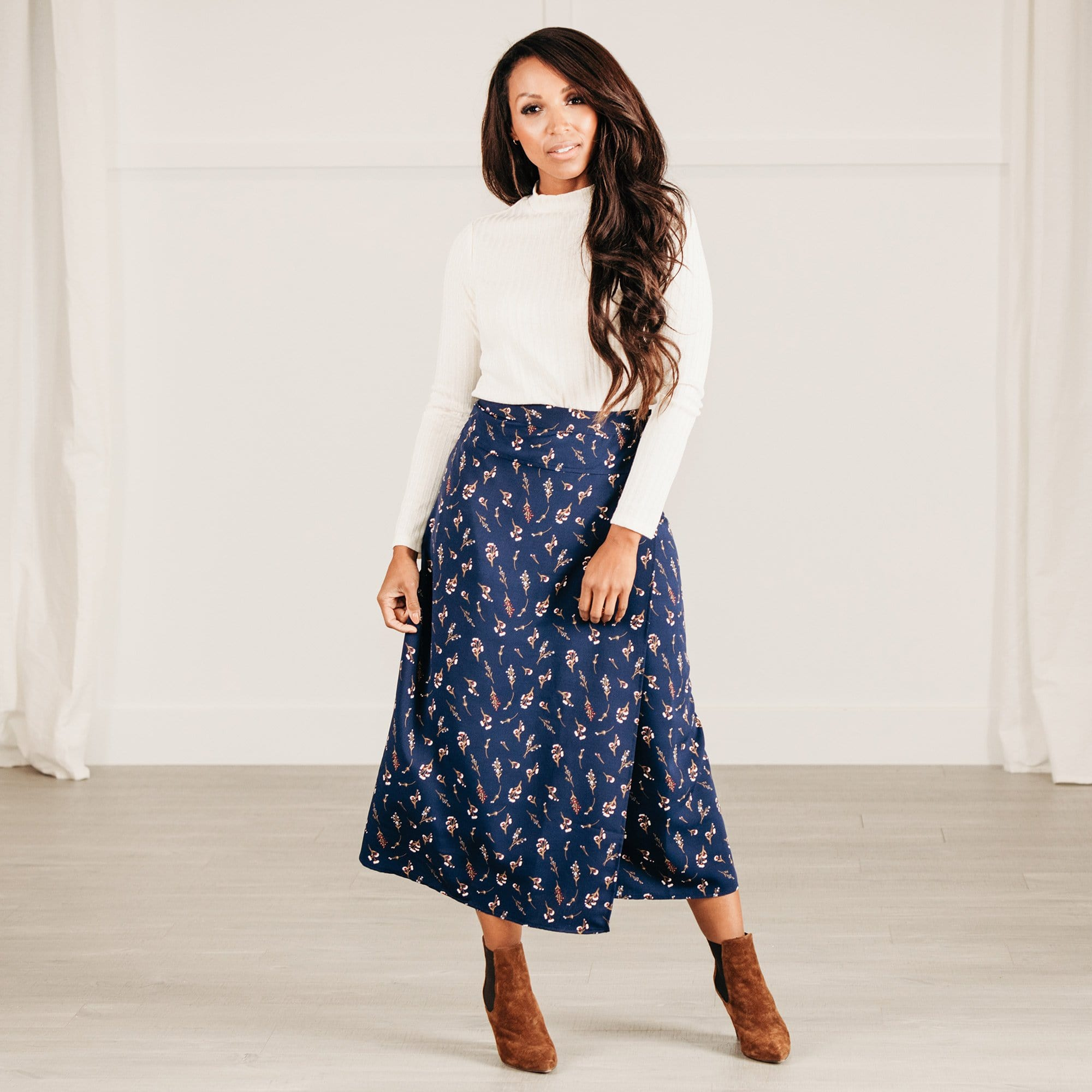 Midi Length Wrap Skirt