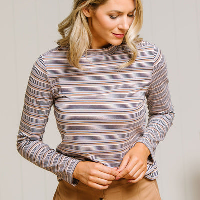 Stripe Mock Neck Top