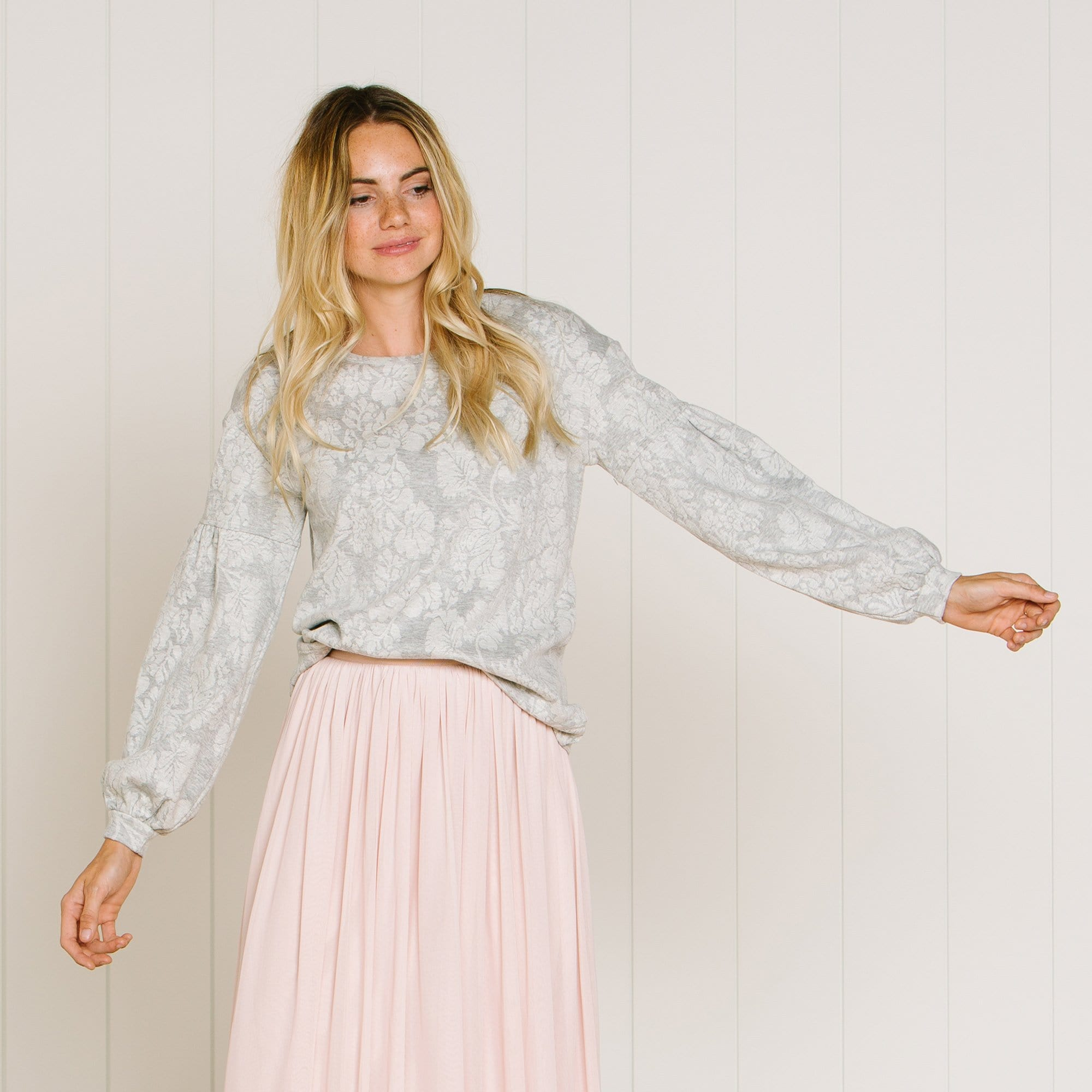 Jacquard Texture Long Sleeve Top