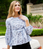 Long Sleeve Cotton Print Tie Front Blouse