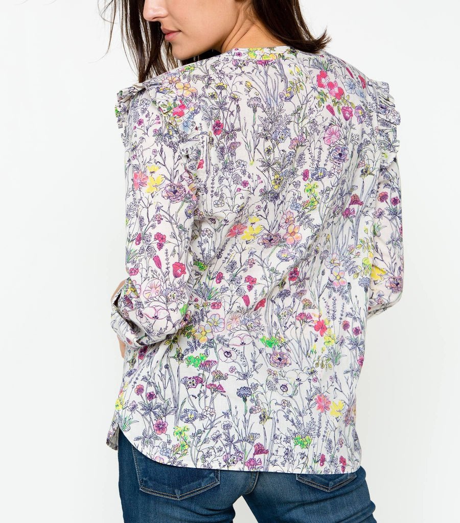 Garden Whimsy Blouse - Ivory Multi
