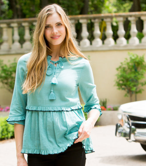 Tipped Ruffle Top