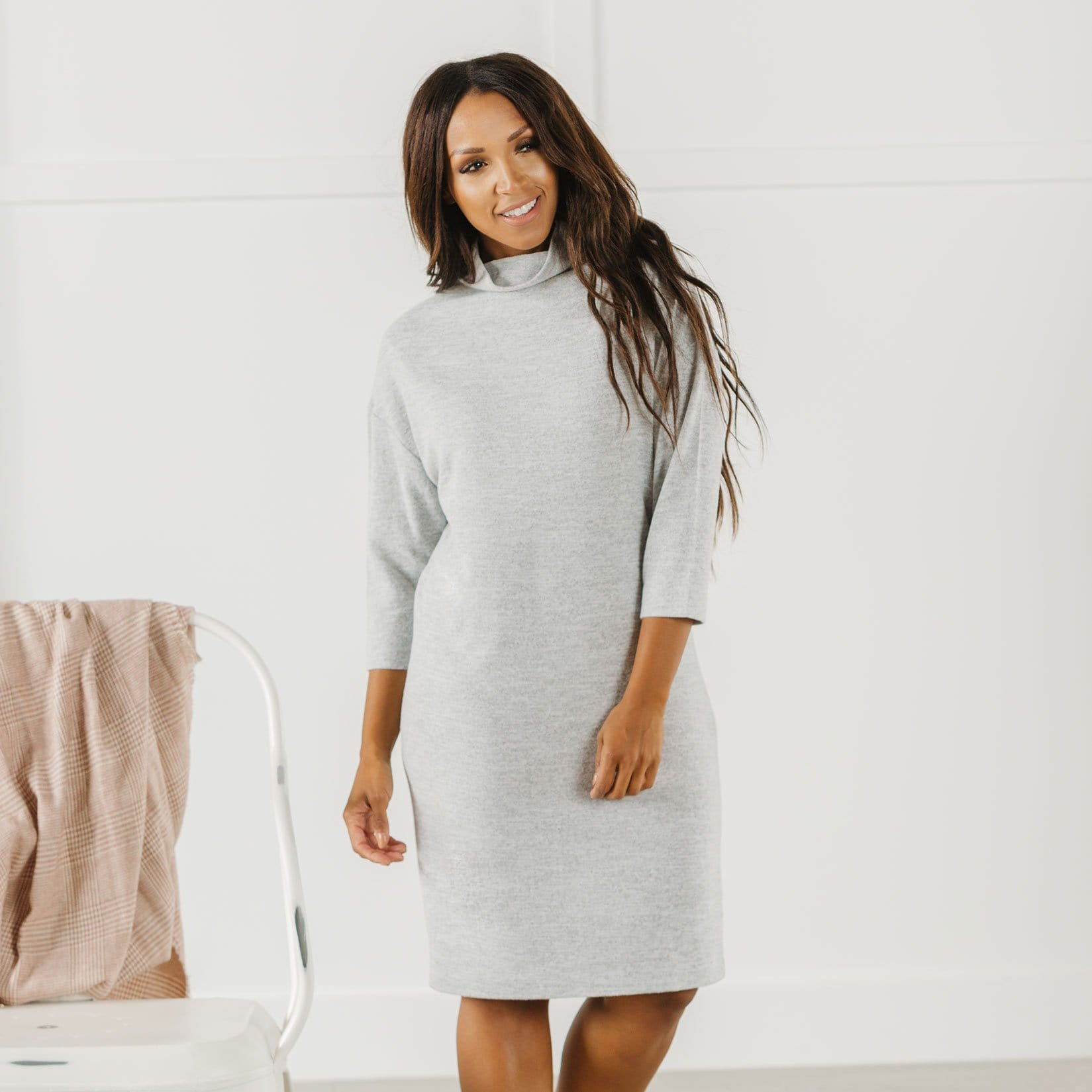 Mock Neck Dolman Dress