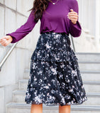 Double Flounce Printed Georgette Skirt