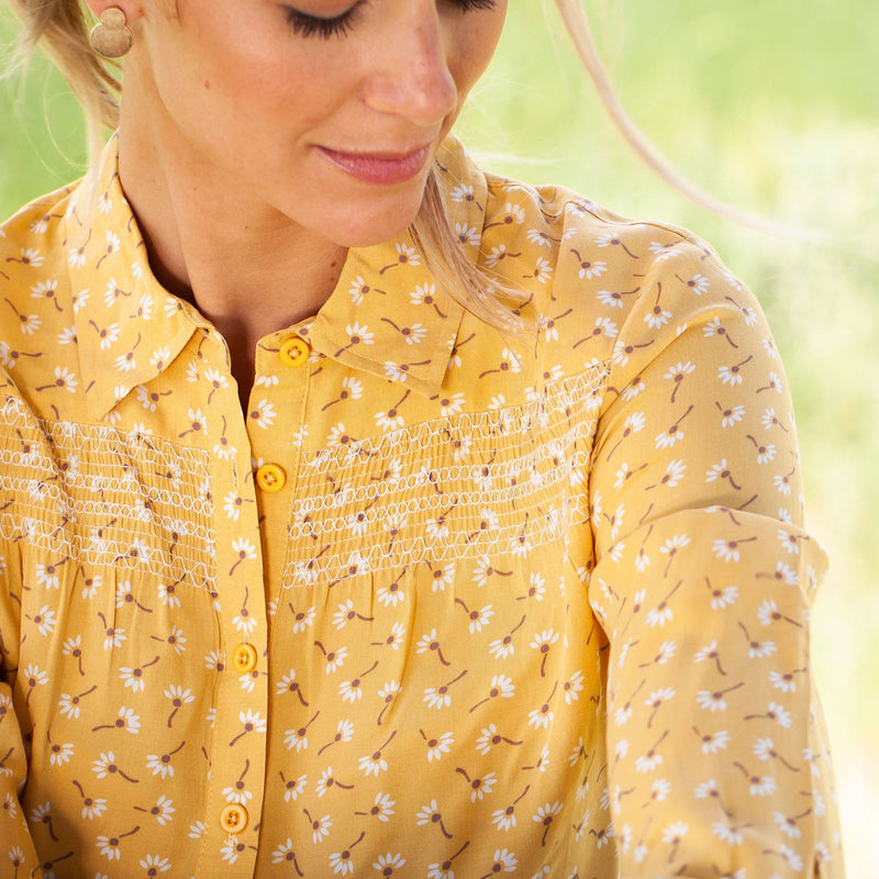 Smocked Button Down Shirt