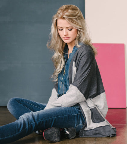 Colorblocked French Terry Cardi Jacket - Charcoal