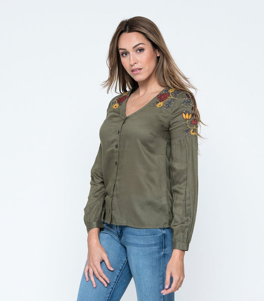 Embroidered Shoulder Button Down Top