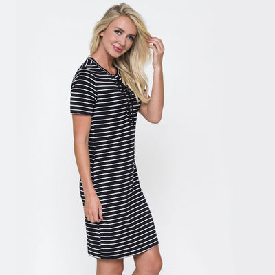 Lace Me Up Stripe Dress