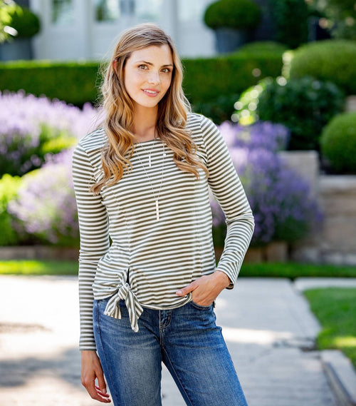 Long Sleeve Tie Front Top