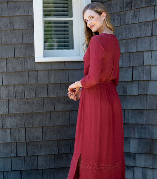Roll Tab Sleeve Maxi Dress