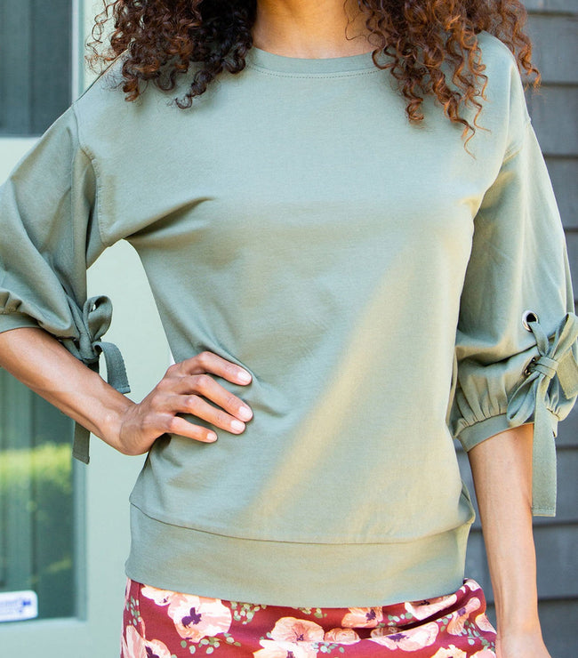 Gathered Sleeve Sweatshirt