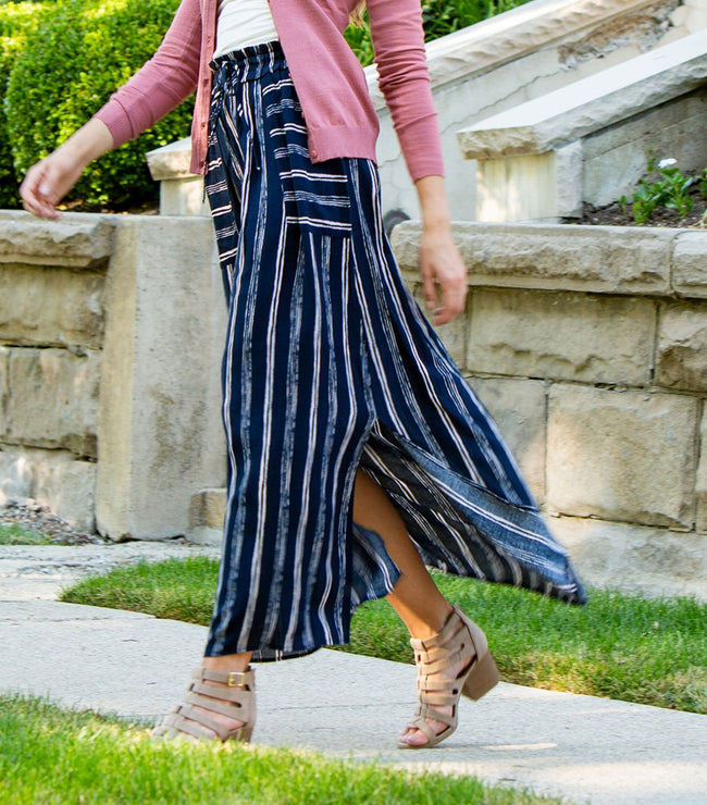 Striped Maxi Skirt with Paperbag Waist and Tie