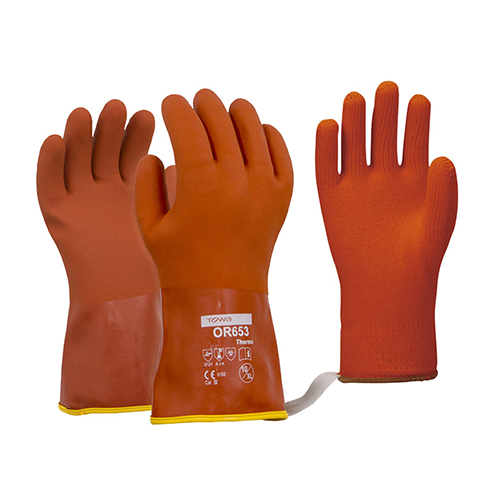 Esko | Towa Orange Thermal PVC Gloves | 12 Pairs