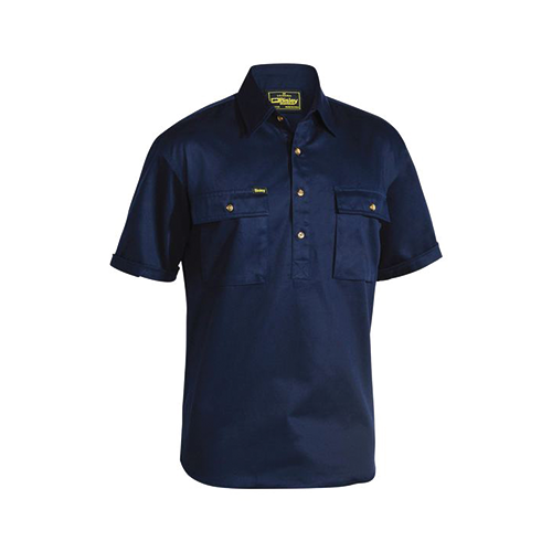 Closed Front Cotton Drill Short Sleeve Shirt | BSC1433