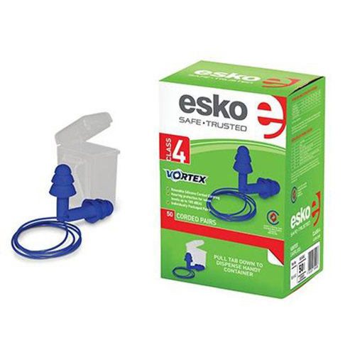 Esko | Earplugs Corded | Vortex Reusable | Class 4 | Box of 50 Pairs  | Carton of 10 Boxes