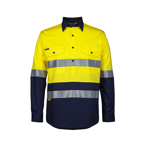 JBs Wear | Hi Vis Day & Night Close Front Long Sleeve 150g Shirt | 6HWCS