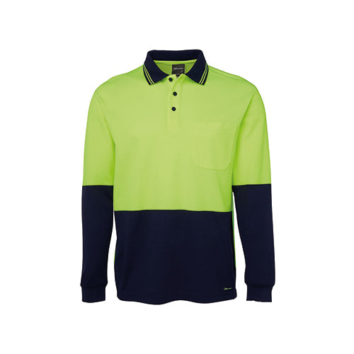 JBs Wear | Hi Vis Long Sleeve Cotton Back Polo | 6HPL