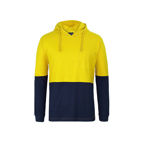 JBs Wear | Hi Vis Long Sleeve Cotton T-Shirt with Hood | 6HCTL