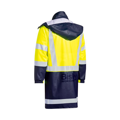 Bisley | Hi Vis Stretch PU Rain Coat with Concealed Hood | BJ6935HT