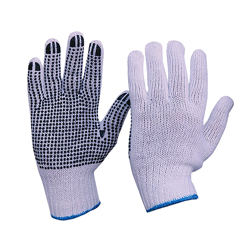 Esko | Knitted Polycotton Gloves with Dots | 12 Pairs