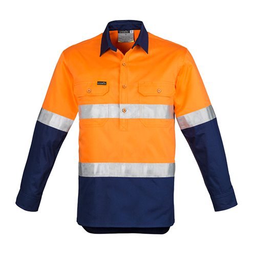 Syzmik Workwear | Mens Hi Vis Closed Front Long Sleeve Shirt - Hoop Taped | ZW550