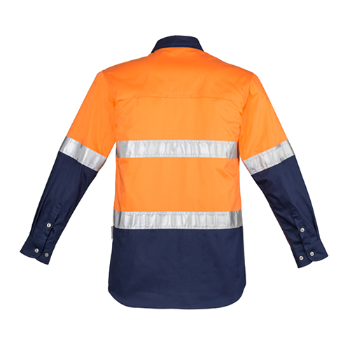 Syzmik Workwear | Mens Hi Vis Spliced Industrial Long Sleeve Shirt - Hoop Taped | ZW123