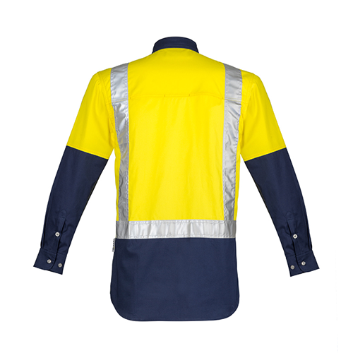Syzmik Workwear | Mens Hi Vis Spliced Industrial Long Sleeve Shirt - Shoulder Taped | ZW124