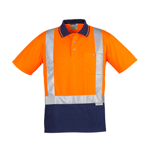 Syzmik Workwear | Mens Hi Vis Spliced Short Sleeve Polo (Shoulder Taped) | ZH233