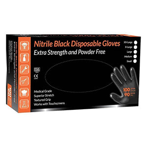 QTech Black Nitrile Gloves