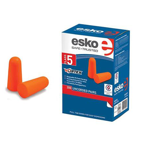 Esko | Vortex Disposable Orange Uncorded Ear Plugs (Class 5) | Box of 200