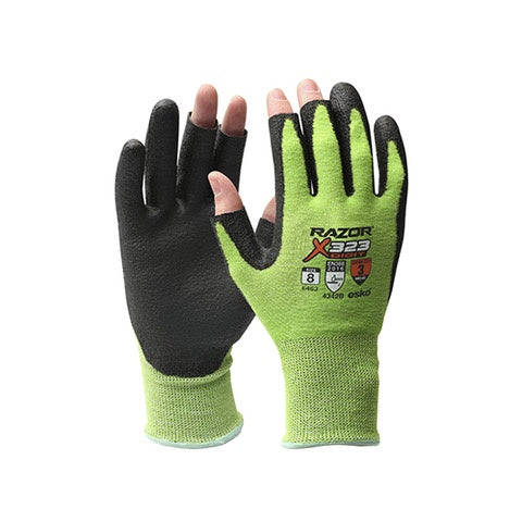 Esko | Razor X323 Fingerless Hi-Vis Green Cut 3 Glove | Pack of 12