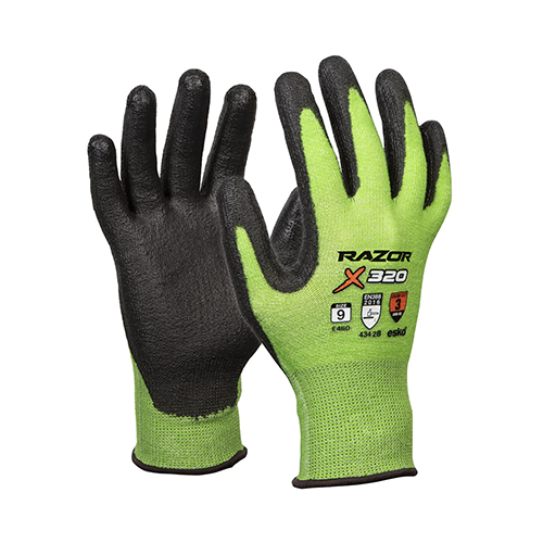 Esko | Razor X320 Hi-Vis Green Cut 3 Gloves | Carton of 120 Pairs