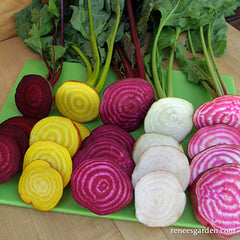 Different color beets on cutting board