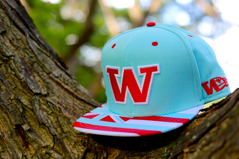 "W 1.5 Flagship ""RED ON TEAL"" SNAPBACK"