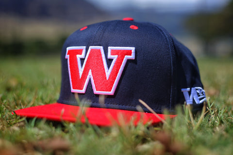 "2.0 W Exclusive ʻAumākua RED on NAVY BLUE"" Flagship Snapback."